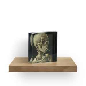 Skull of a Skeleton with Burning Cigarette by Vincent van Gogh Acrylic Blocks