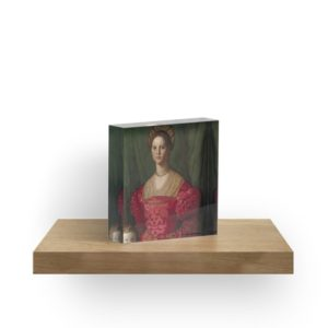 A Young Woman and Her Little Boy Oil Painting by Agnolo Bronzino Acrylic Blocks