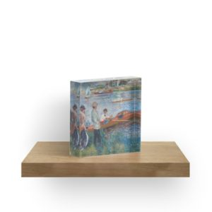 Oarsmen at Chatou Painting by Auguste Renoir Acrylic Blocks