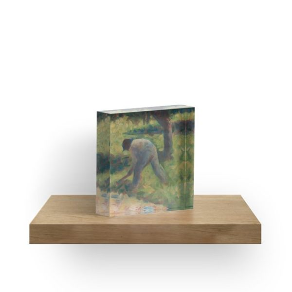 Peasant with a Hoe Oil Painting by Georges Seurat Acrylic Blocks