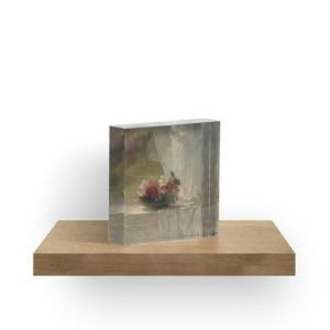 Flowers on a Window Ledge Oil Painting by John La Farge Acrylic Blocks