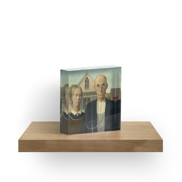 American Gothic Oil Painting by Grant Wood Acrylic Blocks
