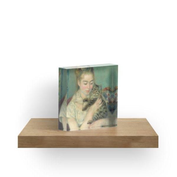Woman with a Cat Oil Painting by Auguste Renoir Acrylic Blocks
