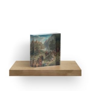 Arabs Skirmishing in the Mountains Oil Painting by Eugène Delacroix Acrylic Blocks