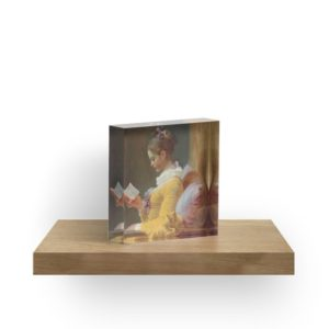Young Girl Reading Painting by Jean-Honoré Fragonard Acrylic Blocks