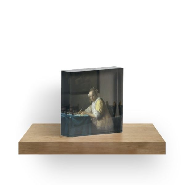 A Lady Writing Oil Painting by Johannes Vermeer Acrylic Blocks