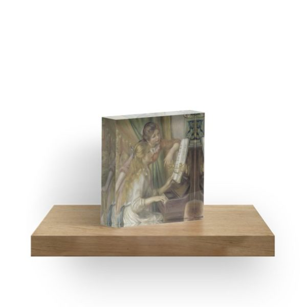 Young Girls at the Piano Oil Painting by Pierre Auguste Renoir Acrylic Blocks