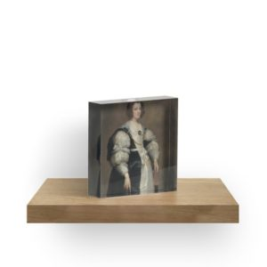 Lady with a Fan Oil Painting by Sir Anthony van Dyck Acrylic Blocks