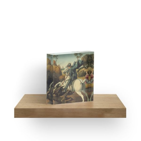 Saint George and the Dragon Oil Painting By Raphael Acrylic Blocks