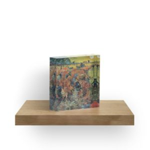 The Red Vineyards Oil Painting on Burlap by Vincent van Gogh Acrylic Blocks