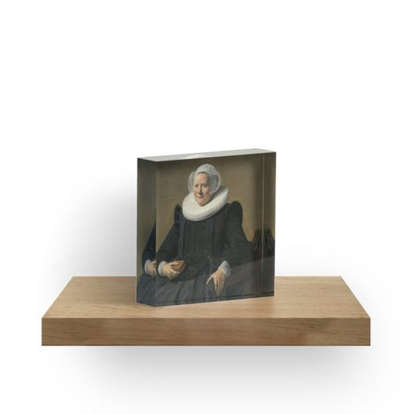 Portrait of an Elderly Oil Painting Lady by Frans Hals Acrylic Blocks