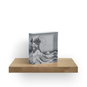 Black and White Japanese Great Wave off Kanagawa by Hokusai Acrylic Blocks