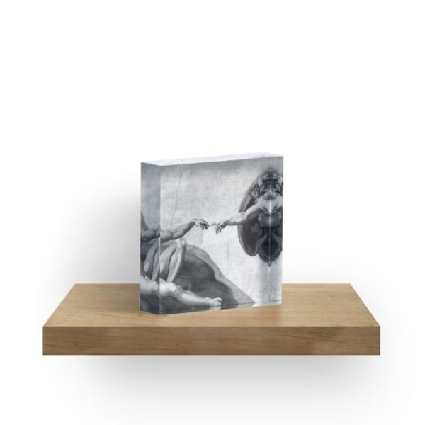Black and White Creation of Adam Painting by Michelangelo Sistine Chapel Acrylic Blocks