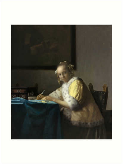 A Lady Writing Oil Painting by Johannes Vermeer Art Prints
