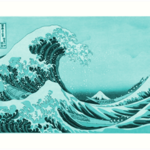 Aqua Blue Japanese Great Wave off Kanagawa by Hokusai Art Prints