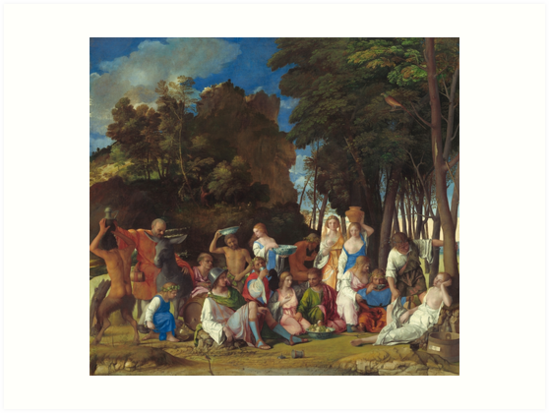 The Feast of the Gods Painting by Giovanni Bellini and Titian Art Prints