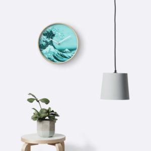 Aqua Blue Japanese Great Wave off Kanagawa by Hokusai Clocks