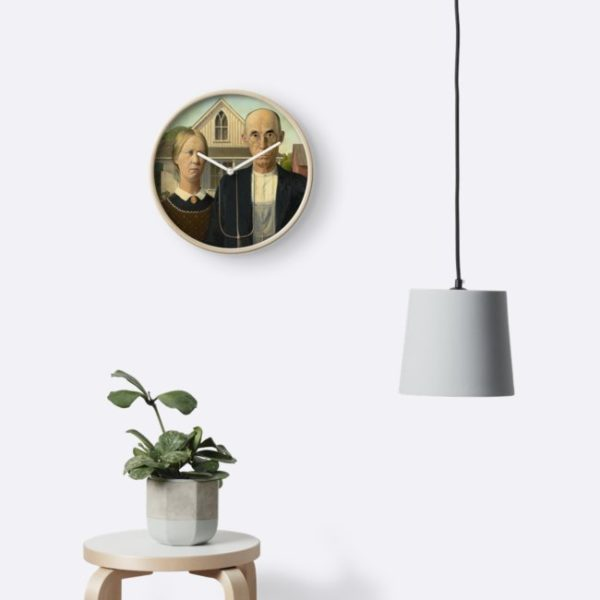 American Gothic Oil Painting by Grant Wood Clocks