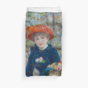 Two Sisters on the Terrace Oil Painting by Auguste Renoir Duvet Covers