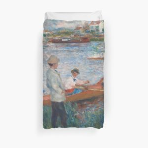 Oarsmen at Chatou Painting by Auguste Renoir Duvet Covers