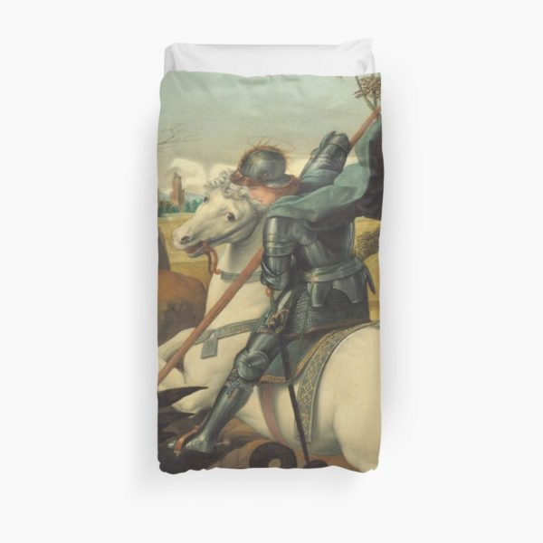 Saint George and the Dragon Oil Painting By Raphael Duvet Covers