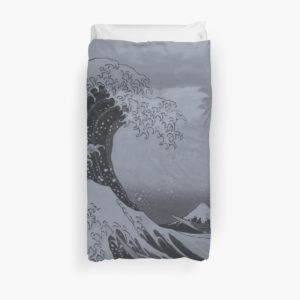 Silver Japanese Great Wave off Kanagawa by Hokusai Duvet Covers