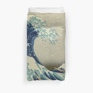The Classic Japanese Great Wave off Kanagawa by Hokusai Duvet Covers