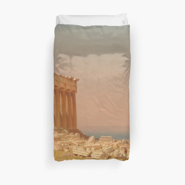 Ruins of the Parthenon Oil Painting by Sanford Robinson Gifford Duvet Covers