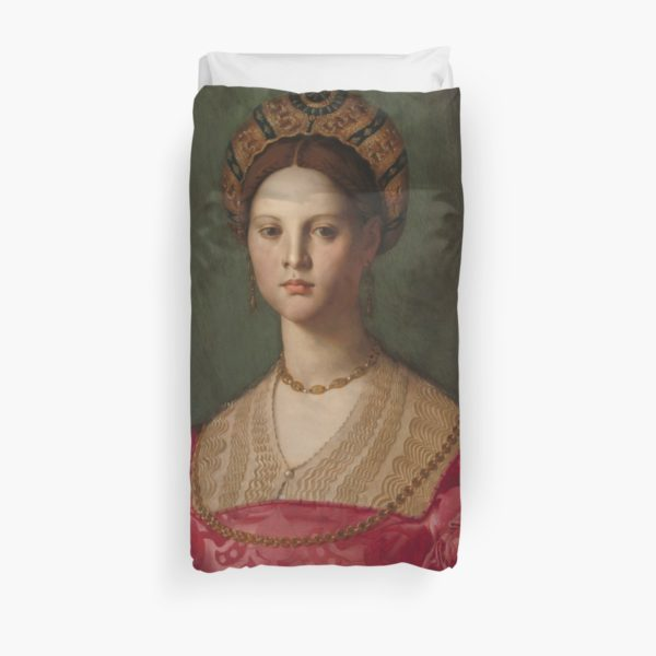 A Young Woman and Her Little Boy Oil Painting by Agnolo Bronzino Duvet Covers