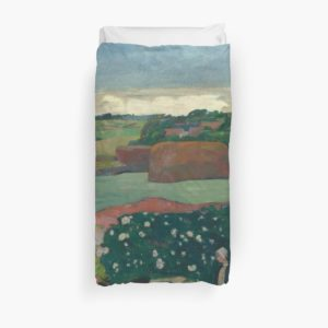 Haystacks in Brittany Oil Painting by Paul Gauguin Duvet Covers