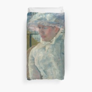 Young Girl at a Window Oil Painting by Mary Stevenson Cassatt Duvet Covers