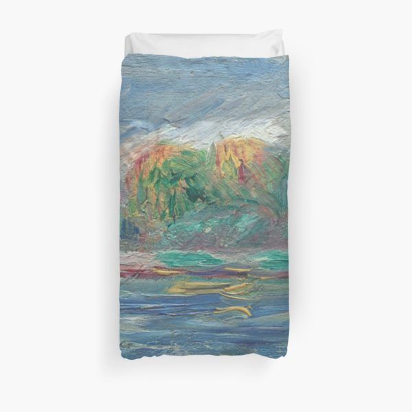 The Blue River Oil Painting by Auguste Renoir Duvet Covers