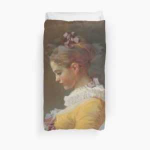 Young Girl Reading Painting by Jean-Honoré Fragonard Duvet Covers