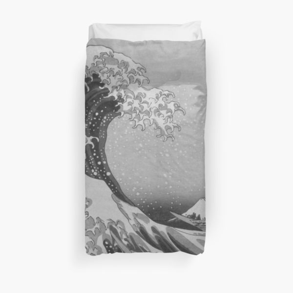 Black and White Japanese Great Wave off Kanagawa by Hokusai Duvet Covers