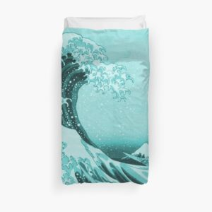Aqua Blue Japanese Great Wave off Kanagawa by Hokusai Duvet Covers