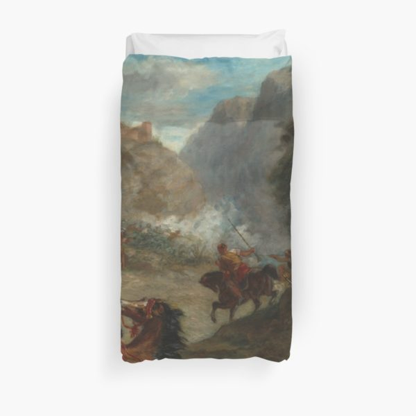 Arabs Skirmishing in the Mountains Oil Painting by Eugène Delacroix Duvet Covers