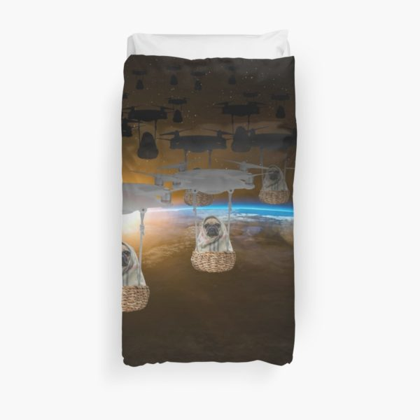 Pugvasion Alien Invasion by Drone Duvet Covers