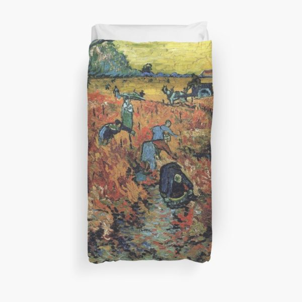 The Red Vineyards Oil Painting on Burlap by Vincent van Gogh Duvet Covers