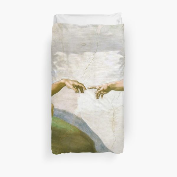 The Creation of Adam Painting by Michelangelo Sistine Chapel Duvet Covers