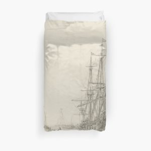 Dutch Ships near the Coast Oil Painting by Willem van de Velde the Elder Duvet Covers