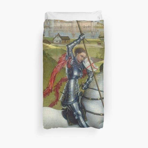 Saint George and the Dragon Oil Painting by Rogier van der Weyden Duvet Covers