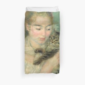 Woman with a Cat Oil Painting by Auguste Renoir Duvet Covers