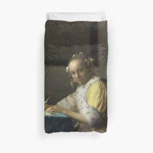 A Lady Writing Oil Painting by Johannes Vermeer Duvet Covers