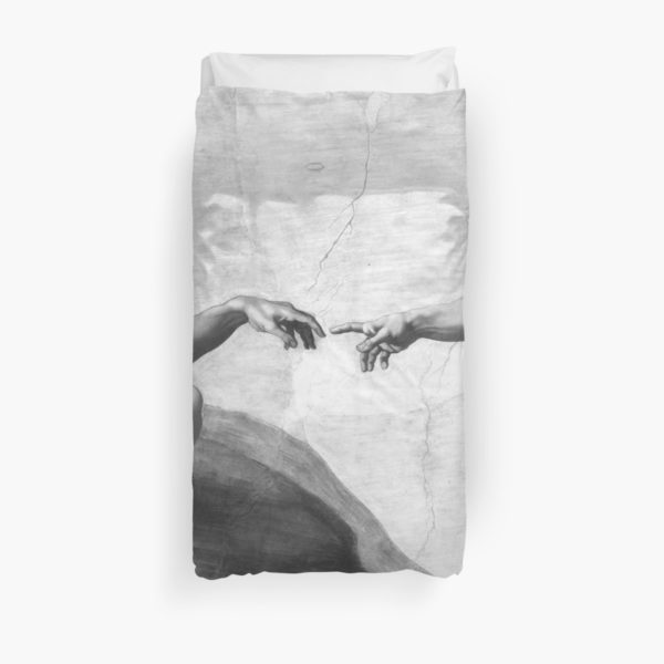 Black and White Creation of Adam Painting by Michelangelo Sistine Chapel Duvet Covers