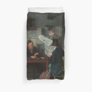 Waiting for the Stage Oil Painting by Richard Caton Woodville Duvet Covers