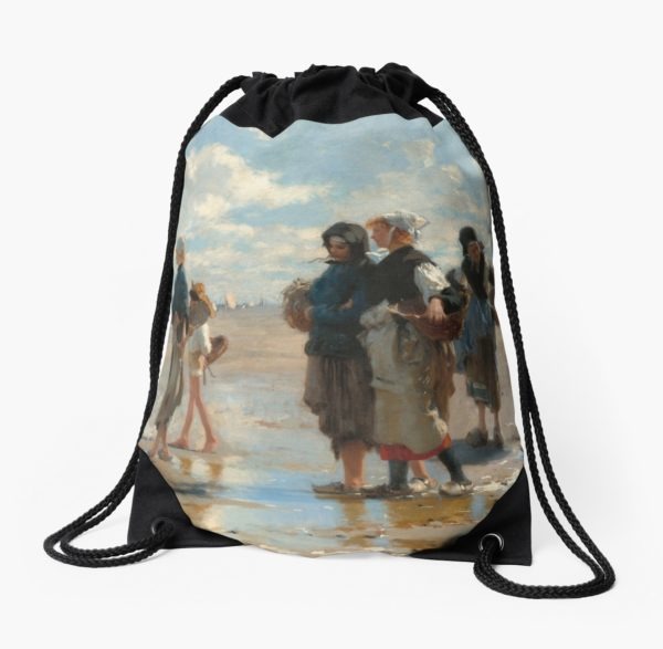 Setting Out to Fish Oil Painting by John Singer Sargent Drawstring Bags