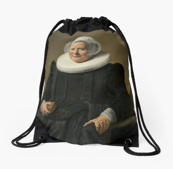 Portrait of an Elderly Oil Painting Lady by Frans Hals Drawstring Bags
