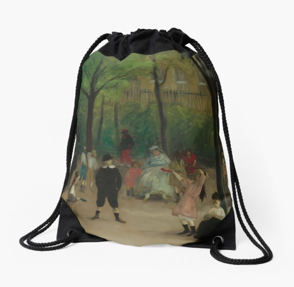 Luxembourg Gardens Oil Painting by William James Glackens Drawstring Bags