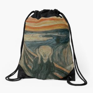 The Scream Lovingly Knitted by Granny E-Munch Drawstring Bags
