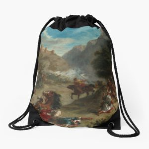 Arabs Skirmishing in the Mountains Oil Painting by Eugène Delacroix Drawstring Bags